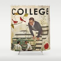 college Shower Curtains featuring Welcome to... College by Heather Landis
