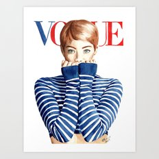 Vogue Magazine Cover. Emma Stone. Fashion Illustration Art Print