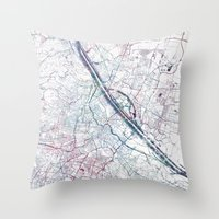 vienna Throw Pillows featuring Vienna map by MapMapMaps.Watercolors