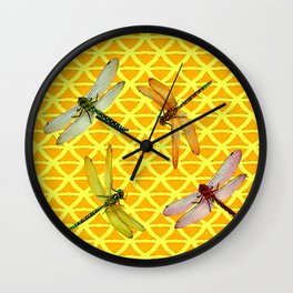 DRAGONFLIES PATTERNED YELLOW-BROWN ORIENTAL SCREEN Wall Clock