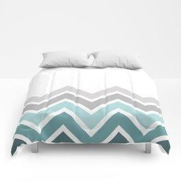 WHITE/ TEAL CHEVRON FADE Comforters