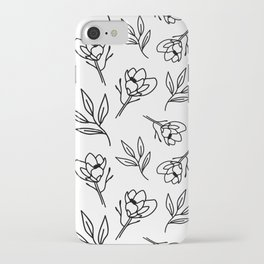 Magnolia and Leaves Pattern Design iPhone Case