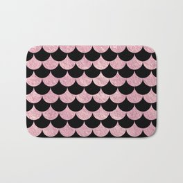 Mermaid Scales Pink Rose Gold Metallic Bath Mat