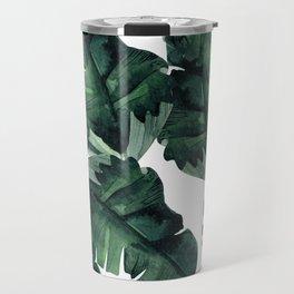 Banana Leaves Pattern Green Travel Mug