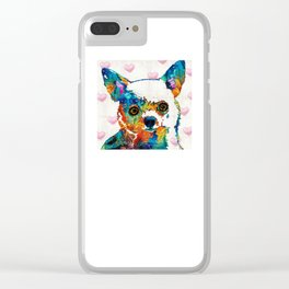 Colorful Chihuahua Art by Sharon Cummings Clear iPhone Case