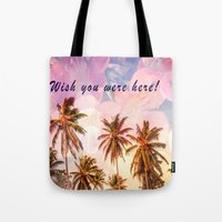 postcard Tote Bags featuring Beach Postcard by Darcy Lynn Designs