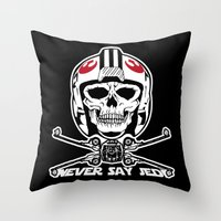 jedi Throw Pillows featuring Doomies Never Say Jedi by Ant Atomic