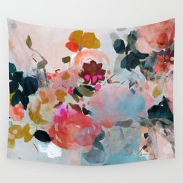 floral bloom abstract painting Wall Tapestry