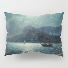 Shipping in a bay by Moonlight - Attributed to Ivan Aivazovsky Pillow Sham