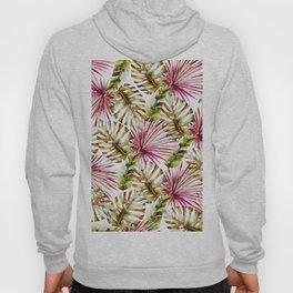 Modern tropical hot pink green watercolor palm tree Hoody