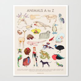 Bizarro Animals - A to Z Canvas Print