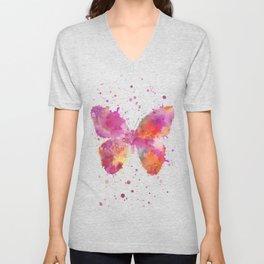 Artsy Butterfly colorful watercolor art Unisex V-Neck