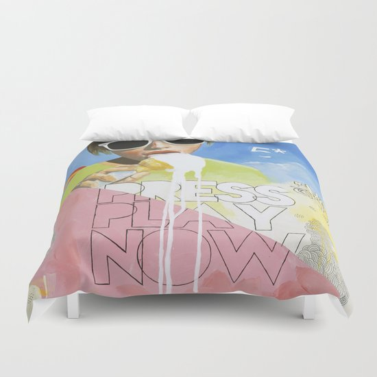 Press Play Now Duvet Cover