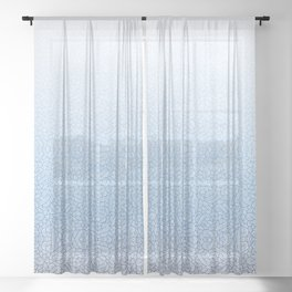 Gradient blue and white swirls doodles Sheer Curtain