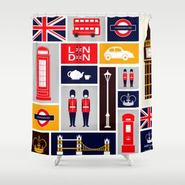 London Keep Calm And Carry On Shower Curtain