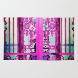 Ornate Iron Gate Pink Rug