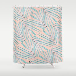 Palm Leaves Coral Shower Curtain
