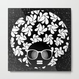 Afro Diva : Black & White Metal Print
