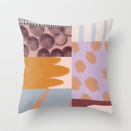 Modern Collage - Minimalism Collage - Earth Tone Collage Throw Pillow