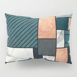 Random Pattern - Copper, Marble, and Blue Concrete Pillow Sham