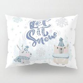 Let It Snow Winter Fun Illustration Pillow Sham