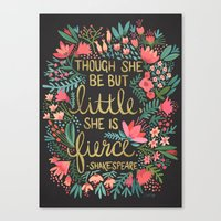 fierce Canvas Prints featuring Little & Fierce on Charcoal by Cat Coquillette