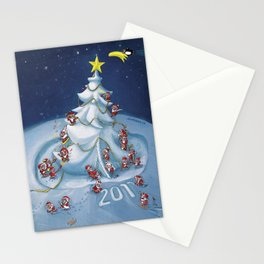 Santas at work Stationery Cards