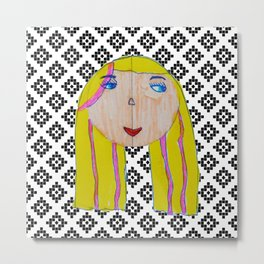 Blonde Girl Metal Print