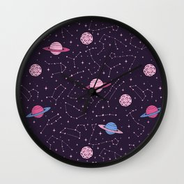 Pink Constellations and Planets Pattern Wall Clock