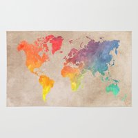 world maps Area & Throw Rugs featuring World Map Maps by jbjart