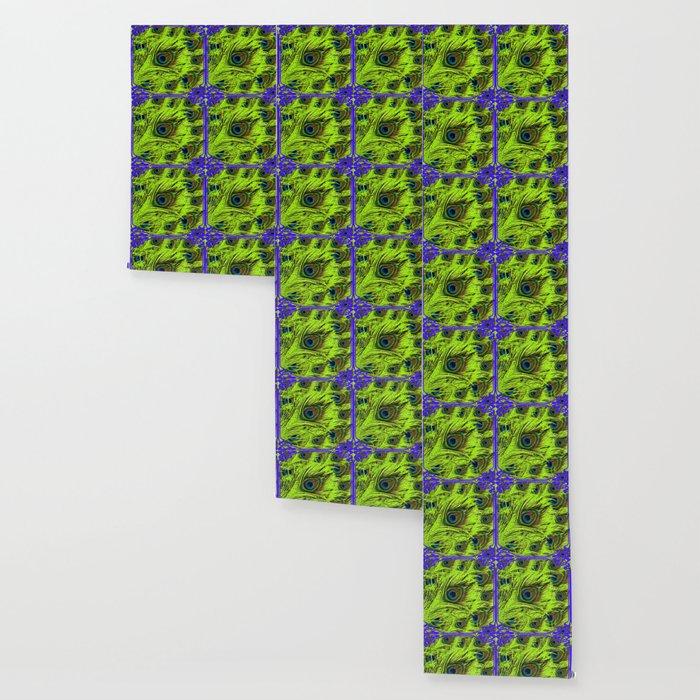PURPLE ART NOUVEAU GREEN PEACOCK FEATHERS ABSTRACT ART Wallpaper