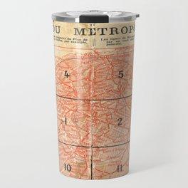 Vintage Paris City Centre Map Travel Mug