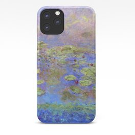Water Lillies - Claude Monet (indigo blue) iPhone Case