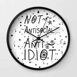 NOT Anti-Social Anti-Idiot Wall Clock
