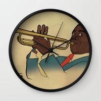 louis armstrong Wall Clocks featuring Louis Armstrong by Borja Espasa