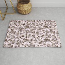 Alice in Wonderland | Toile de Jouy Pattern | Brown | Pink | Vintage Pattern | Victorian Gothic | Rug