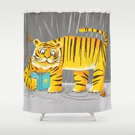 reading tiger Shower Curtain