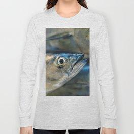 Big eye, tuna, fish, still life, photo, fine art, print, nature, sea, fishing, detail, blue Long Sleeve T-shirt