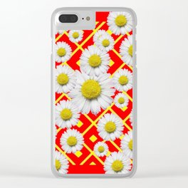 White-Yellow Shasta Daisies Red Pattern Art Clear iPhone Case
