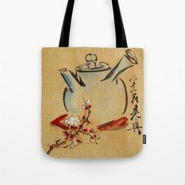 Vintage Japanese Teapot Painting Tote Bag