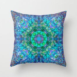 Crystal and Ice Celtic Tribal Mandala Throw Pillow