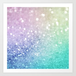 Pretty Colorful Glitter Bokeh Gradient Decorative Art Print