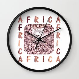 Africa and abstract texture of leopard Wall Clock