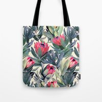 red Tote Bags featuring Painted Protea Pattern by micklyn