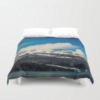 alaska Duvet Covers featuring Alaska Mountain by Leah Flores