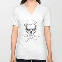 house md V-neck T-shirts featuring Everybody Dies - House MD Skull Crossbones by Olechka