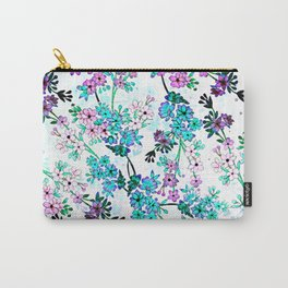 Turquoise Lavender Floral Carry-All Pouch