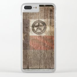 Lone Star State #Texas #woodbackground Clear iPhone Case