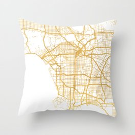 LOS ANGELES CALIFORNIA CITY STREET MAP ART Throw Pillow