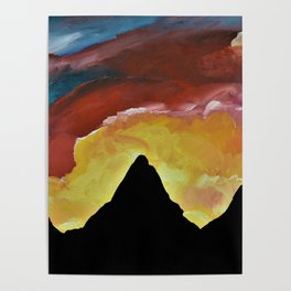 Everest Silhouette - Abstract Sky Oil Painting Poster